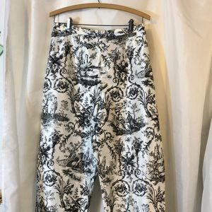 Victorian print black and white pants